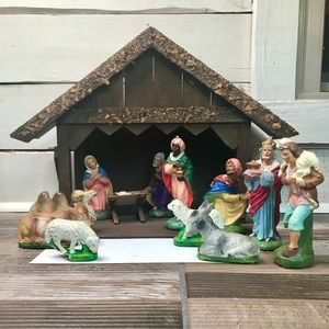 Nativity Scene Western Germany 12 Pieces w Manger
